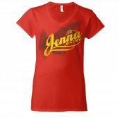 Jenna Jentry Red V Neck Tee