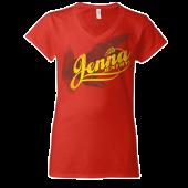 Jenna Jentry Red V Neck Tee
